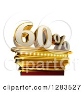 Clipart Of A 3d Sixty Percent Discount On A Gold Pedestal Over White Royalty Free Illustration