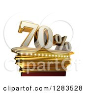 Clipart Of A 3d Seventy Percent Discount On A Gold Pedestal Over White Royalty Free Illustration
