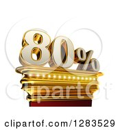 Clipart Of A 3d Eighty Percent Discount On A Gold Pedestal Over White Royalty Free Illustration
