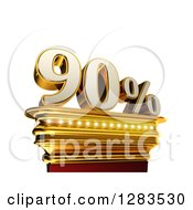 Clipart Of A 3d Ninety Percent Discount On A Gold Pedestal Over White Royalty Free Illustration