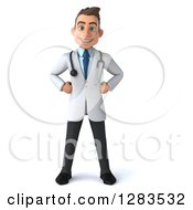 Clipart Of A 3d Young Brunette White Male Doctor Royalty Free Illustration