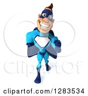 Clipart Of A 3d Caucasian Blue Male Super Hero Walking Looking Up And Pointing Royalty Free Vector Illustration