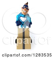 Clipart Of A 3d Caucasian Blue Male Super Hero Moving Boxes On A Dolly Royalty Free Vector Illustration