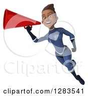 Clipart Of A 3d Young Black Female Super Hero In A Blue Suit Smiling Flying And Announcing With A Megaphone Royalty Free Vector Illustration