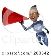 Clipart Of A 3d Young Black Female Super Hero In A Blue Suit Flying And Announcing With A Megaphone 2 Royalty Free Vector Illustration