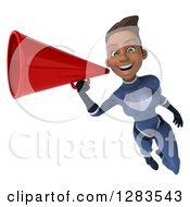 Clipart Of A 3d Young Black Female Super Hero In A Blue Suit Flying And Announcing With A Megaphone 3 Royalty Free Vector Illustration