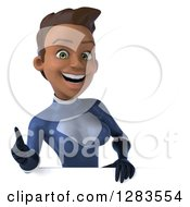 Clipart Of A 3d Young Black Female Super Hero In A Blue Suit Holding A Thumb Up Over A Sign Royalty Free Vector Illustration