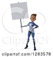 Clipart Of A 3d Young Black Female Super Hero In A Blue Suit Holding A Blank Sign Royalty Free Vector Illustration by Julos