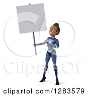 Clipart Of A 3d Young Black Female Super Hero In A Blue Suit Holding And Pointing At A Blank Sign Royalty Free Vector Illustration by Julos