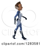 Clipart Of A 3d Young Black Female Super Hero In A Blue Suit Walking To The Right Royalty Free Vector Illustration by Julos