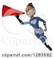 Clipart Of A 3d Young Black Female Super Hero In A Blue Suit Flying And Announcing With A Megaphone Royalty Free Vector Illustration by Julos