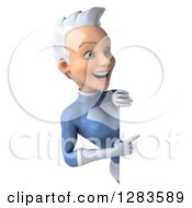 Clipart Of A 3d White Haired Caucasian Female Super Hero In A Blue Suit Pointing Around A Sign Royalty Free Vector Illustration