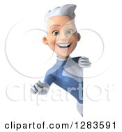 Clipart Of A 3d White Haired Caucasian Female Super Hero In A Blue Suit Pointing Outwards Around A Sign Royalty Free Vector Illustration