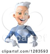 Clipart Of A 3d White Haired Caucasian Female Super Hero In A Blue Suit Pointing Down Over A Sign Royalty Free Vector Illustration