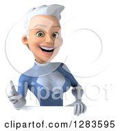 Clipart Of A 3d Happy White Haired Caucasian Female Super Hero In A Blue Suit Holding A Thumb Up Over A Sign Royalty Free Vector Illustration
