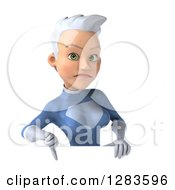 Clipart Of A 3d Unhappy White Haired Caucasian Female Super Hero In A Blue Suit Holding A Thumb Down Over A Sign Royalty Free Vector Illustration