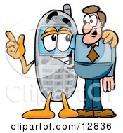 Wireless Cellular Telephone Mascot Cartoon Character Talking To A Business Man
