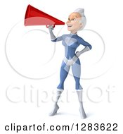Clipart Of A 3d White Haired Caucasian Female Super Hero In A Blue Suit Facing Left And Announcing With A Megaphone Royalty Free Vector Illustration by Julos