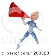 Clipart Of A 3d White Haired Caucasian Female Super Hero In A Blue Suit Facing Left And Announcing Upwards With A Megaphone Royalty Free Vector Illustration by Julos