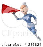 Clipart Of A 3d White Haired Caucasian Female Super Hero In A Blue Suit Facing Left Flying And Announcing With A Megaphone Royalty Free Vector Illustration by Julos