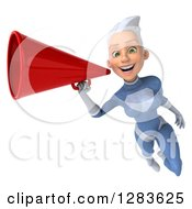 Clipart Of A 3d White Haired Caucasian Female Super Hero In A Blue Suit Flying And Announcing With A Megaphone Royalty Free Vector Illustration by Julos