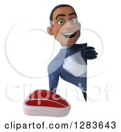 Clipart Of A 3d Young Black Male Super Hero In A Blue Suit Holding A Beef Steak Around A Sign Royalty Free Vector Illustration