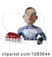 Clipart Of A 3d Young Black Male Super Hero In A Blue Suit Holding A Beef Steak Over A Sign Royalty Free Vector Illustration