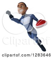 Clipart Of A 3d Young Black Male Super Hero In A Blue Suit Flying Up To The Left And Holding A Beef Steak Royalty Free Vector Illustration