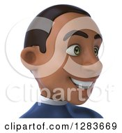 Clipart Of A 3d Young Black Male Super Hero In A Blue Suit From The Shoulders Up Facing Right 2 Royalty Free Vector Illustration