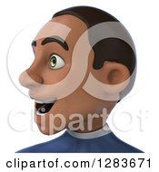 Clipart Of A 3d Young Black Male Super Hero In A Blue Suit From The Shoulders Up Facing Left Royalty Free Vector Illustration