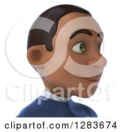 Clipart Of A 3d Young Black Male Super Hero In A Blue Suit From The Shoulders Up Facing Right Royalty Free Vector Illustration
