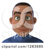 Clipart Of A 3d Young Black Male Super Hero In A Blue Suit From The Shoulders Up Royalty Free Vector Illustration