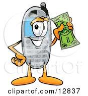 Wireless Cellular Telephone Mascot Cartoon Character Holding A Dollar Bill