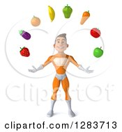 Clipart Of A 3d Young Brunette White Male Super Hero In An Orange Suit Juggling Produce Royalty Free Vector Illustration