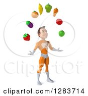 Clipart Of A 3d Young Brunette White Male Super Hero In An Orange Suit Facing Slightly Right And Juggling Produce Royalty Free Vector Illustration