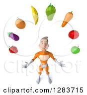 Clipart Of A 3d Young Brunette White Male Super Hero In An Orange Suit Looking Up And Juggling Produce Royalty Free Vector Illustration