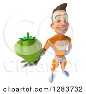 Clipart Of A 3d Young Brunette White Male Super Hero In An Orange Suit Holding Up A Green Bell Pepper Royalty Free Vector Illustration