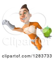 Clipart Of A 3d Young Brunette White Male Super Hero In An Orange Suit Flying And Holding A Green Bell Pepper Royalty Free Vector Illustration