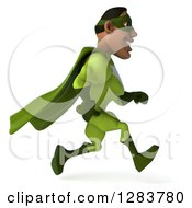 Clipart Of A 3d Male Black Super Hero In Green Running To The Right Royalty Free Vector Illustration