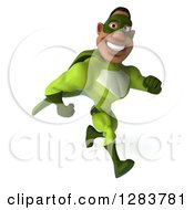 Clipart Of A 3d Male Black Super Hero In Green Running Slightly To The Right Royalty Free Vector Illustration