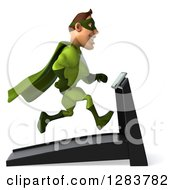 Clipart Of A 3d Green Caucasian Super Hero Man Facing Right And Running On A Treadmill Royalty Free Vector Illustration