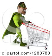 Clipart Of A 3d Male Black Super Hero In Green Pushing An Empty Shopping Cart Royalty Free Vector Illustration