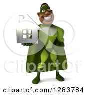 Clipart Of A 3d Male Black Super Hero In Green Holding Out A Chrome House Royalty Free Vector Illustration
