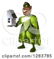 Clipart Of A 3d Male Black Super Hero In Green Facing Left And Holding A Chrome House Royalty Free Vector Illustration