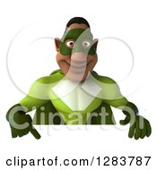 Clipart Of A 3d Male Black Super Hero In Green Pointing Down Over A Sign Royalty Free Vector Illustration