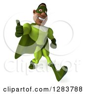 Clipart Of A 3d Male Black Super Hero In Green Holding A Thumb Up And Walking Slightly Right Royalty Free Vector Illustration
