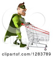 Clipart Of A 3d Caucasian Green Super Hero Man Pushing An Empty Shopping Cart Royalty Free Vector Illustration