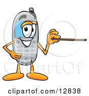 Clipart Picture Of A Wireless Cellular Telephone Mascot Cartoon Character Holding A Pointer Stick