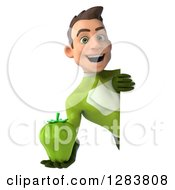 Clipart Of A 3d Young Brunette White Male Super Hero In A Green Suit Holding A Green Bell Pepper Around A Sign Royalty Free Vector Illustration