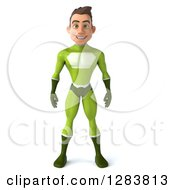 Clipart Of A 3d Young Brunette White Male Super Hero In A Green Suit Royalty Free Vector Illustration by Julos